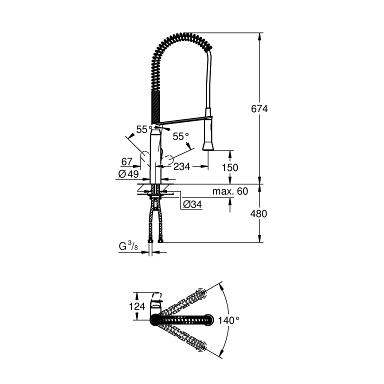 Grohe K7 Single Lever Swivel Extra High Spout 140 Kitchen Tap 32950DC0 Dimensions