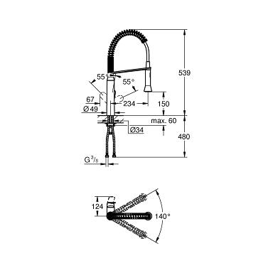 Grohe K7 Single Lever Swivel Spout 140 Kitchen Tap 31379DC0 Dimensions