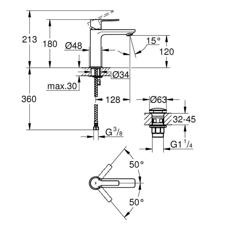 Grohe Lineare Single Lever S-Size Basin Mixer 23106001 dimension