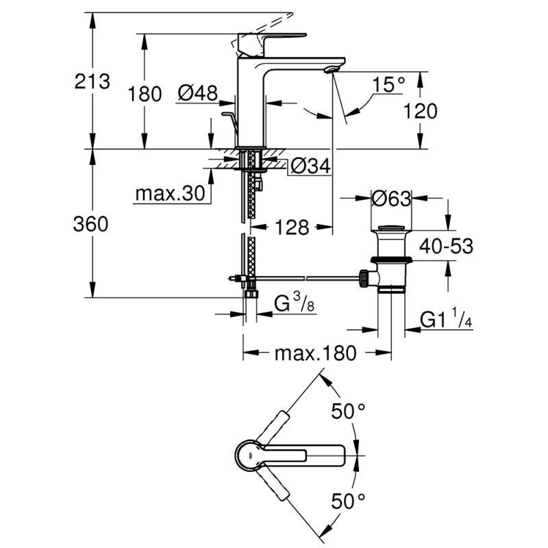 Grohe Lineare Single Lever S-Size Basin Mixer 32114001 dimension