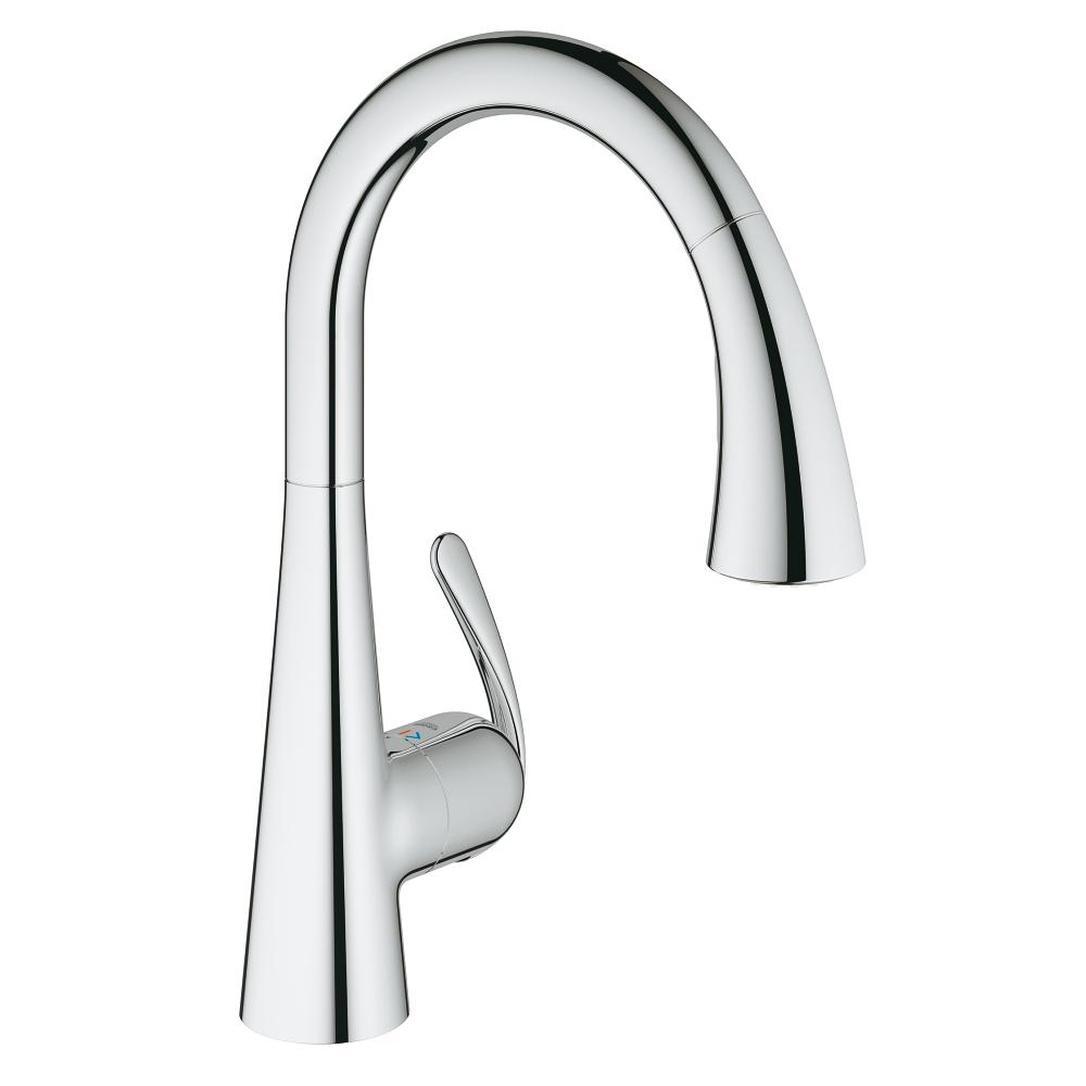 Grohe Zedra with Pull-out Spray Single Lever Swivel High Spout 360 ...