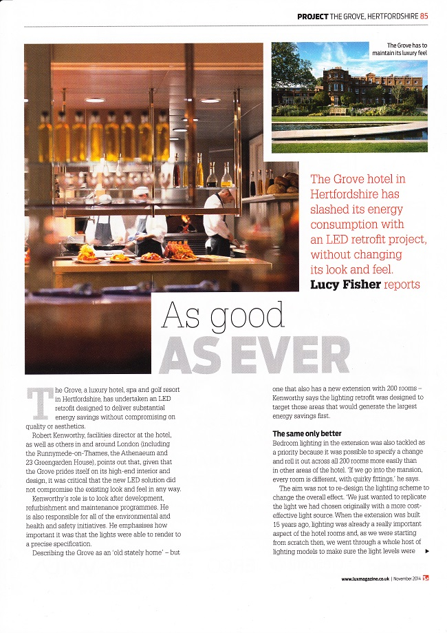 Grove Hotel LED lighting retrofit with SaveMoneyCutCarbon.com feature in Lux magazine