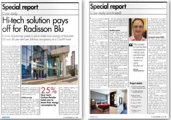 Image of H&V News case study on how Radisson Blu Hotels works with SaveMoneyCutCarbon to cut energy consumption by up to 45%