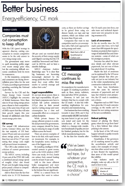 Image of H&V News article featuring Mark Sait MD SaveMoneyCutCarbon
