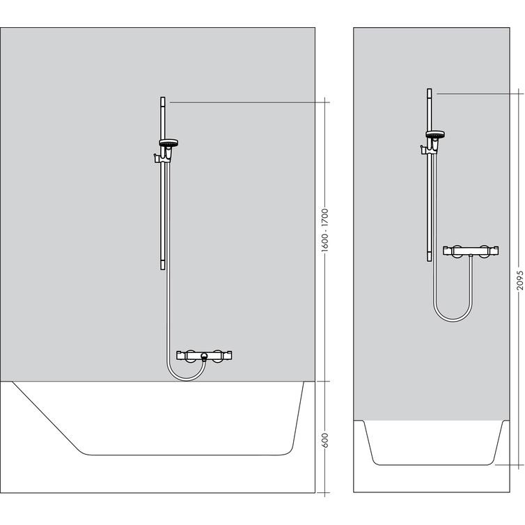 hansgrohe croma 100 1jet hand shower ecosmart unica c chrome shower set. Black Bedroom Furniture Sets. Home Design Ideas
