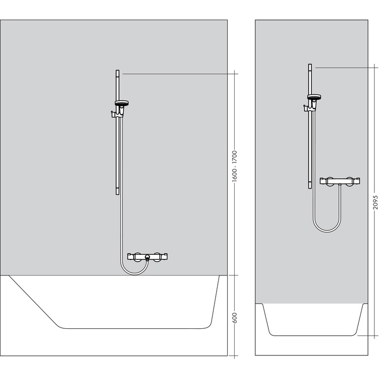 Hansgrohe Crometta 1jet EcoSmart Unica Chrome and White Shower Set 0.65m - Diagram
