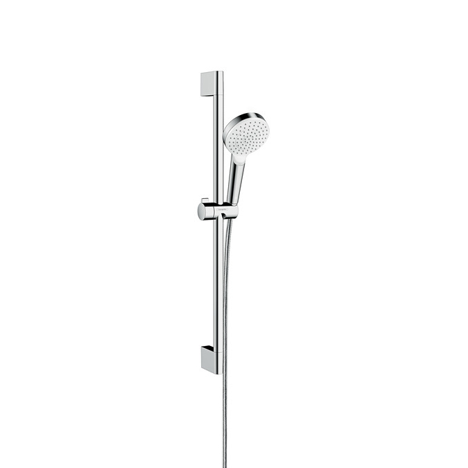 Hansgrohe Crometta 1jet EcoSmart Unica Chrome and White Shower Set 0.65m - Main