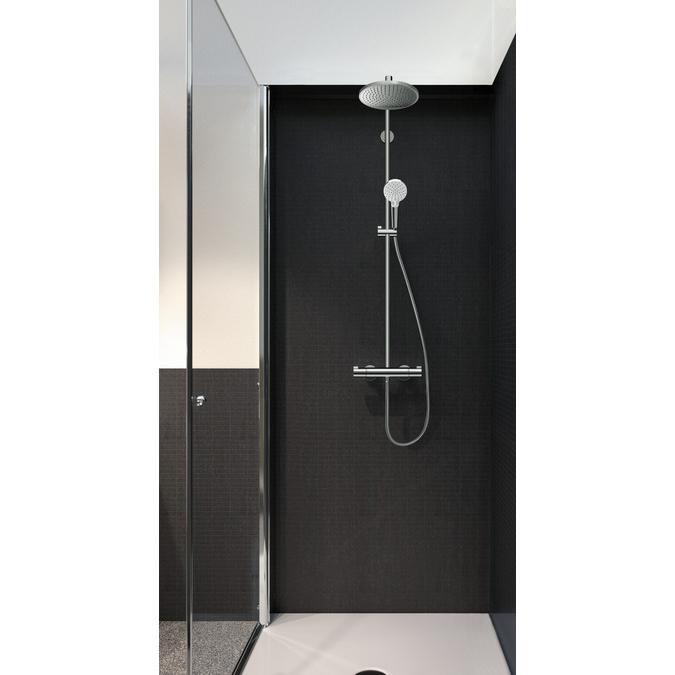 hansgrohe crometta s 240 1jet showerpipe ecosmart chrome. Black Bedroom Furniture Sets. Home Design Ideas