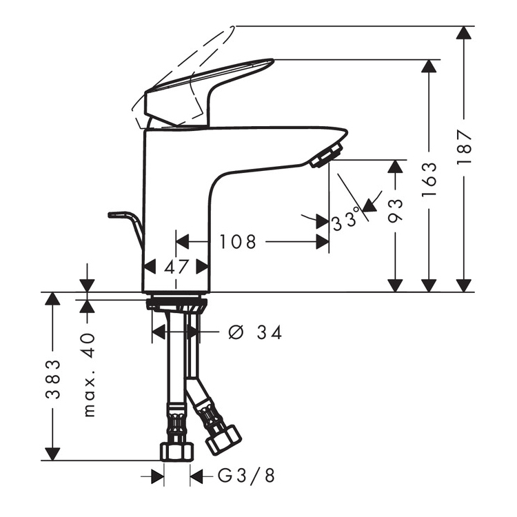 Hansgrohe Logis CoolStart Single Lever Basin Mixer 100