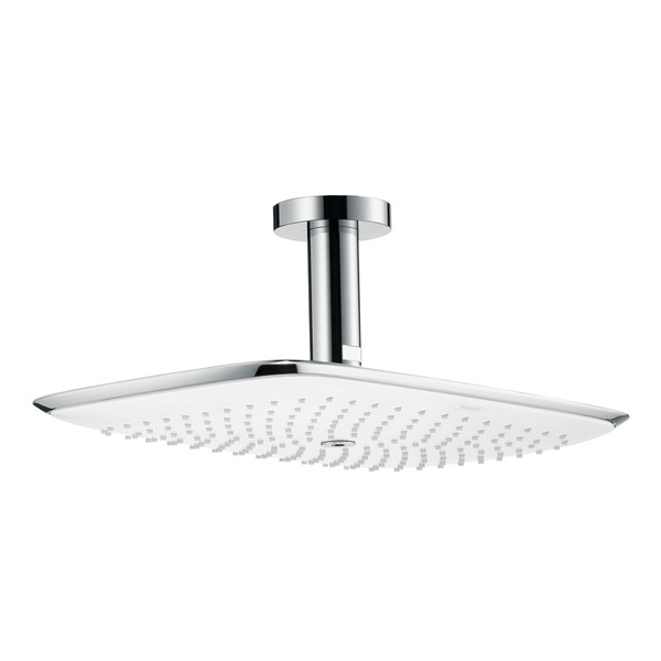 Hansgrohe PuraVida 390 Air 1jet EcoSmart Shower Head with Ceiling Connector White & Chrome Main
