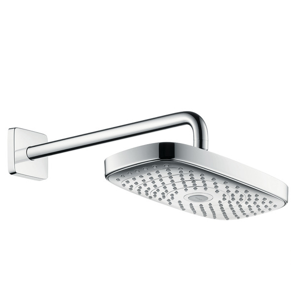 hansgrohe raindance select e 300 2jet ecosmart shower head with shower arm white chrome. Black Bedroom Furniture Sets. Home Design Ideas