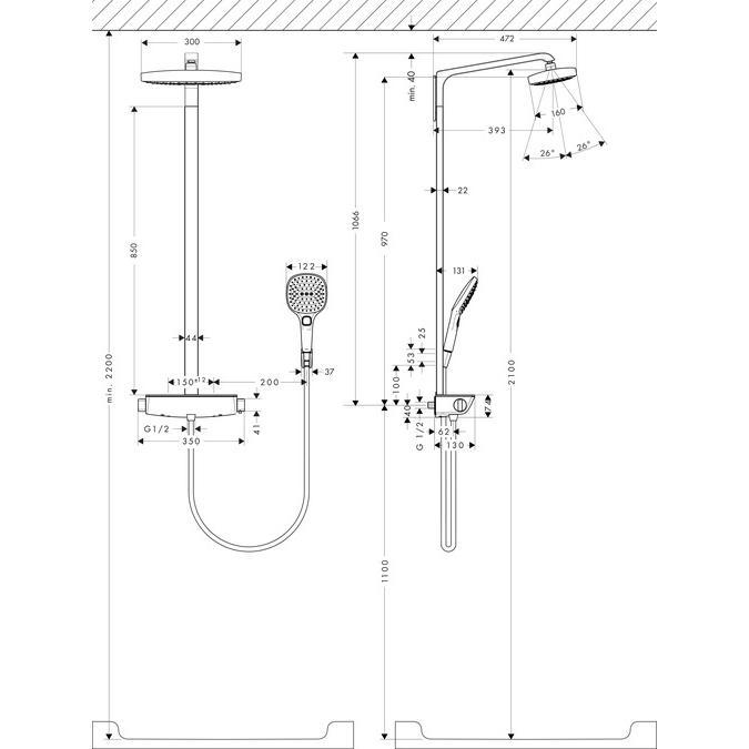 Hansgrohe Raindance Select E 300 2jet Showerpipe EcoSmart White and Chrome Install