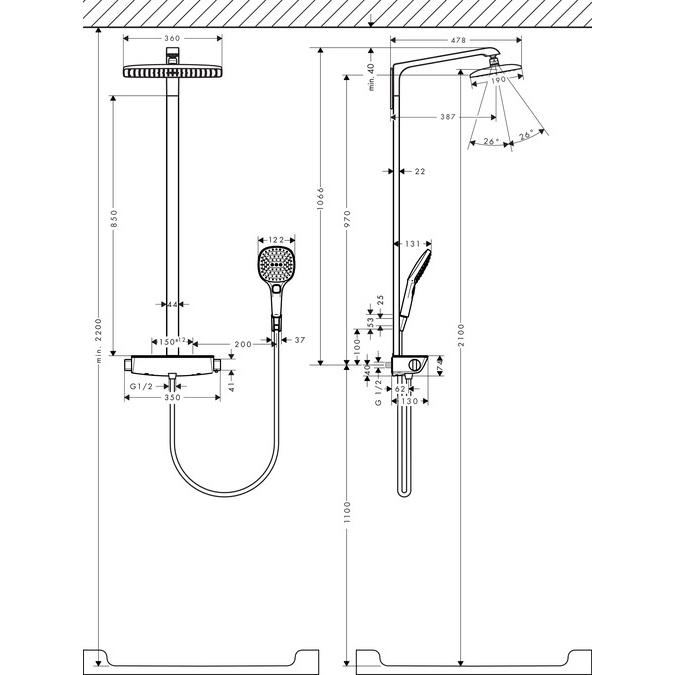 hansgrohe raindance select e 360 1jet showerpipe ecosmart chrome install