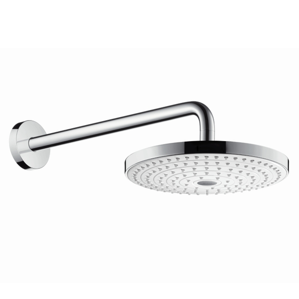Hansgrohe Raindance Select S 240 EcoSmart Rain Chrome and White Shower Head with 390mm Shower Arm