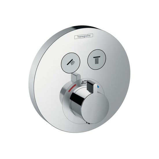 Hansgrohe ShowerSelect S Chrome Thermostatic Mixer for Concealed Installation of Two Outlets