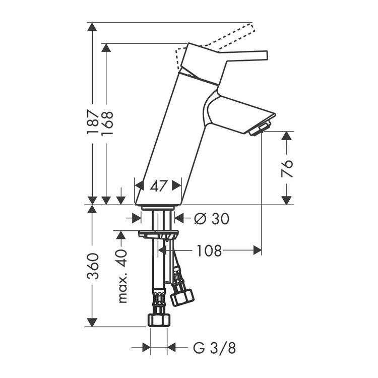 Hansgrohe Talis S2 Single Lever Basin Mixer Dimensions
