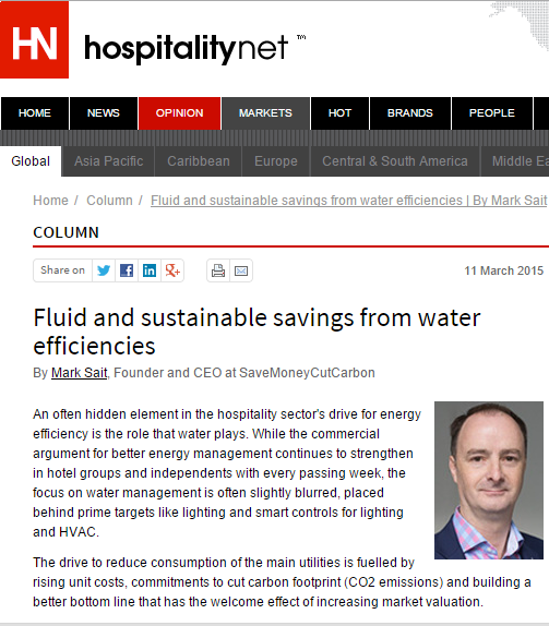 Hospitality Net article by Mark Sait, CEO SaveMoneyCutCarbon
