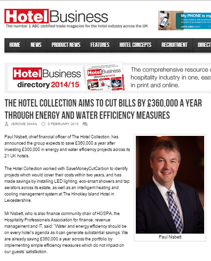 Hotel Business story - The Hotel Collection makes £360K energy and water savings