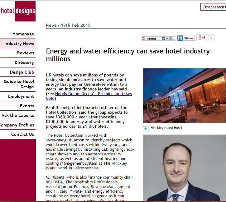 Hotel Designs article on The Hotel Collection £360,000 a year energy and water savings