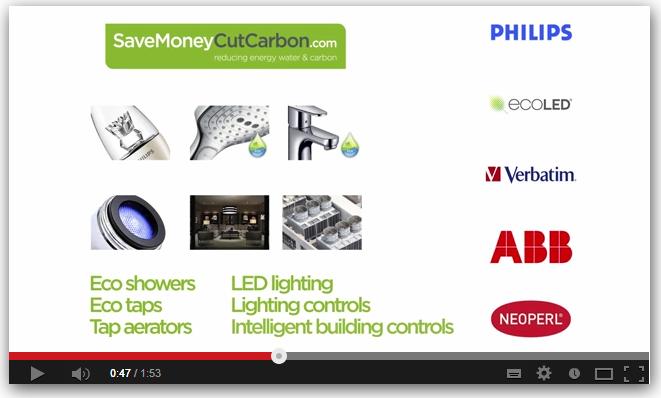 Screenshot of hotels energy saving video - SaveMoneyCutCarbon.com