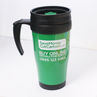 SaveMoneyCutCarbon Thermos Travel Mug Front