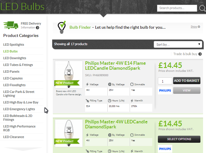 LED light products with Savings Calculator from SaveMoneyCutCarbon.com