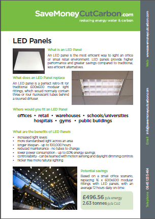 LED panels guide from SaveMoneyCutCarbon