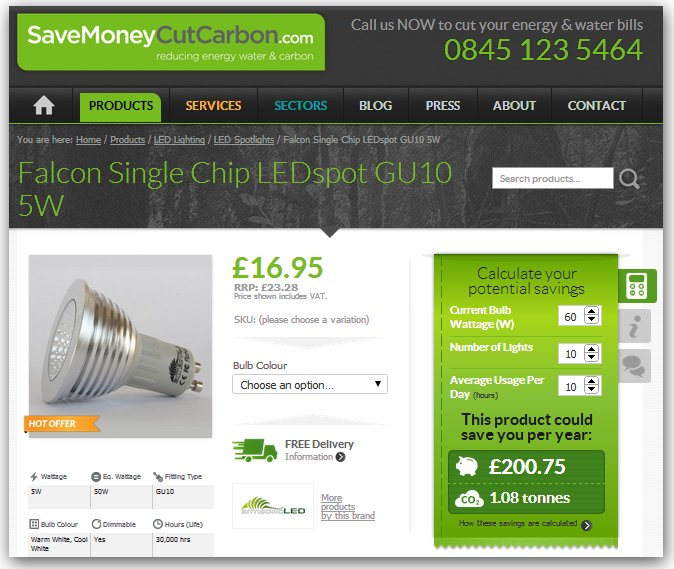 Screenshot of LED savings calculator from SaveMoneyCutCarbon