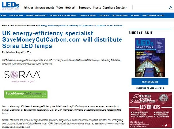 LEDs Magazine Soraa SaveMoneyCutCarbon master distributor partnership story