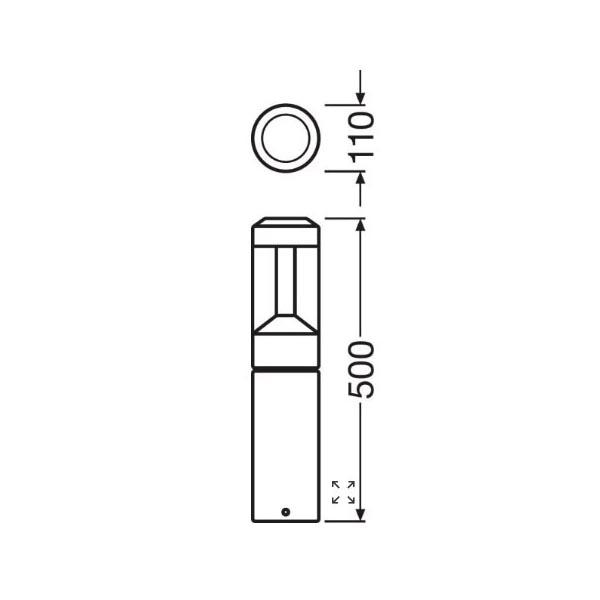 Ledvance Facade Bollard 500 - Dimensions