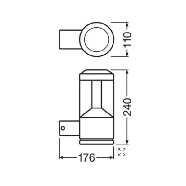 Ledvance Facade Lantern - Dimensions