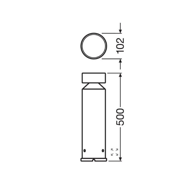 Ledvance Outdoor Bollard Stainless Steel Pole 500 - Dimensions