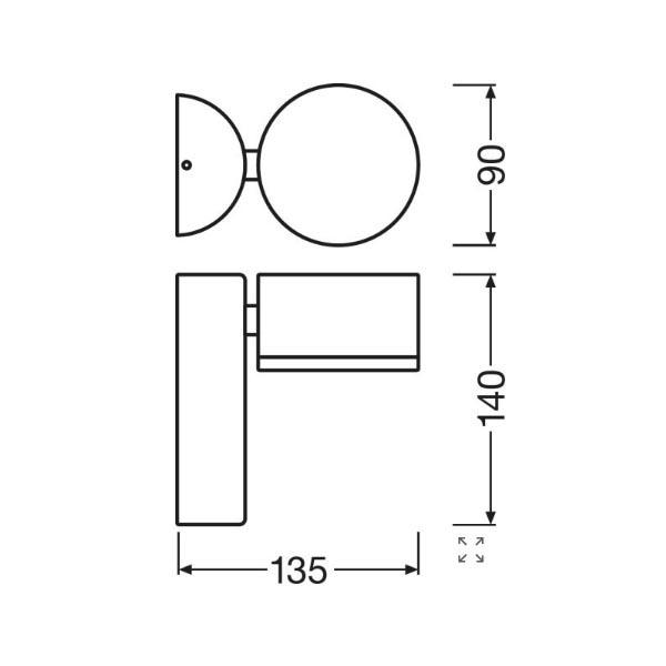 Ledvance Outdoor Facade Spot - Dimensions