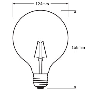 Ledvance Rerofit Classic Globe LED Filament E27-dimension