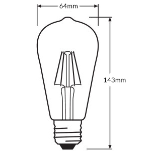 Ledvance Retrofit Classic ST LED Filament Dimension