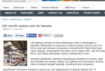 Website image of Modern Building Services article on LED lighting retrofit for Menzies Distribution by SaveMoneyCutCarbon