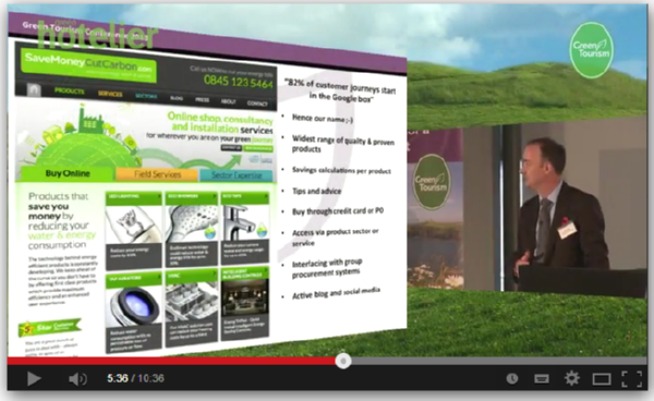 Image of Green Tourism 2013 video showing presentation by Mark Sait-SaveMoneyCutCarbon