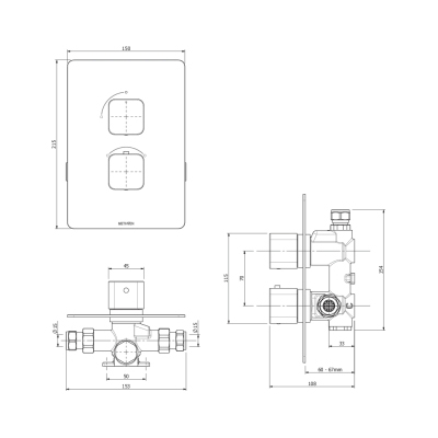 Methven Kiri Thermostatic Mixer One Outlet for Concealed Installation - Dimensions