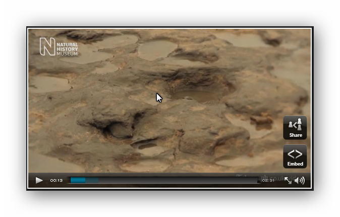 Video still image of oldest human footprints in Britain