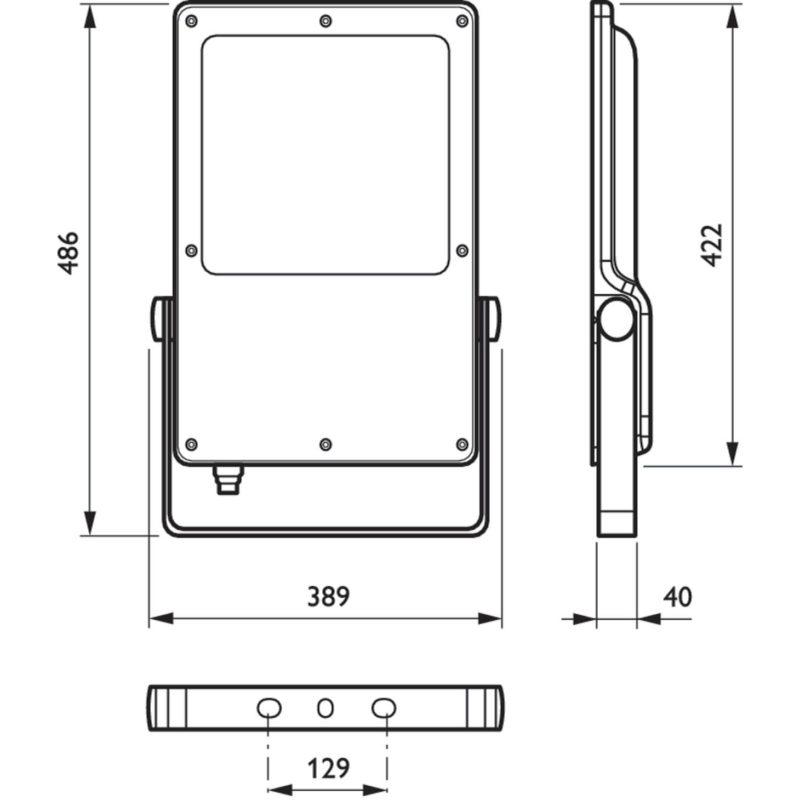 Philips BVP130 CoreLine Tempo Large LED Floodlight 162W Grey 4000K Asymmetrical Dimension