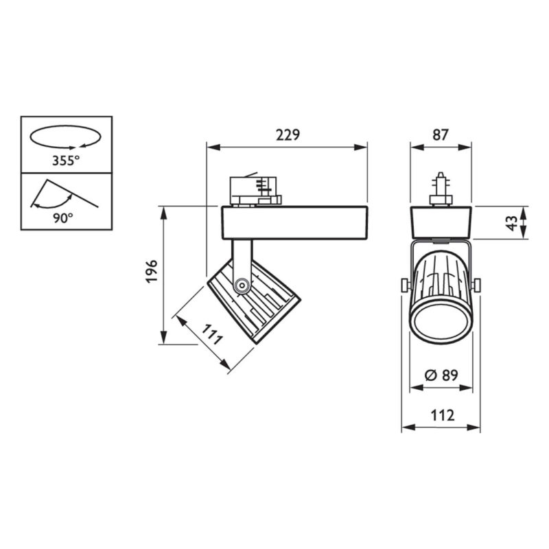 Philips EcoStyle Black LED Projector 27W 3000K Diagram