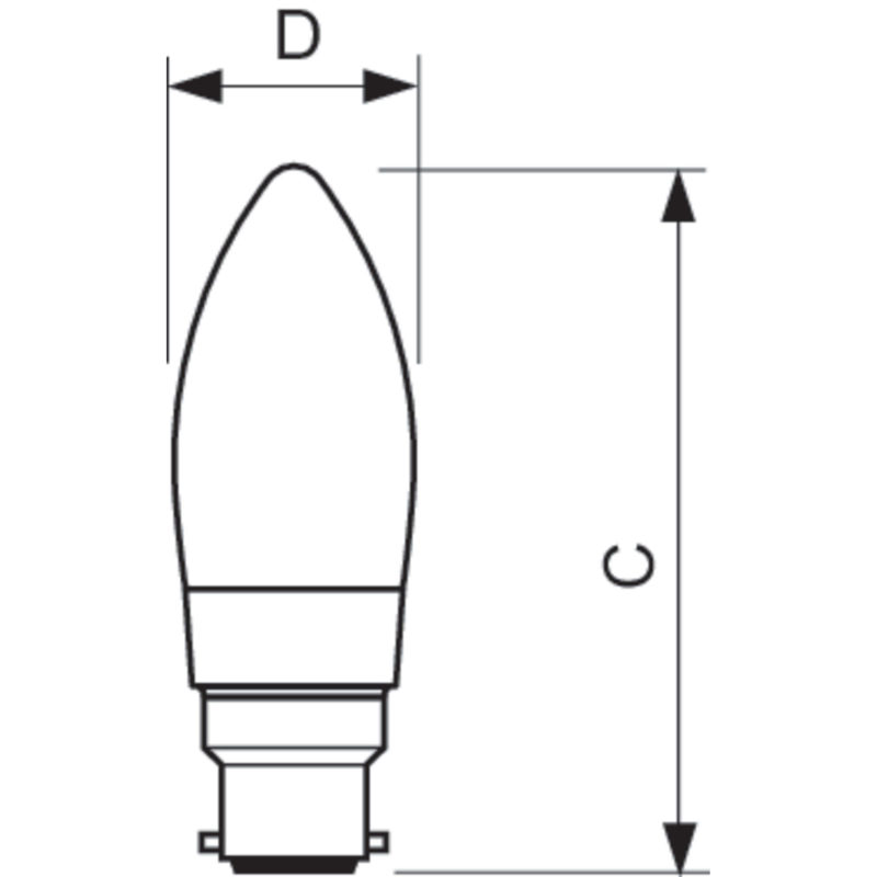 Philips LED Filament Candle B22 4.5W 2700K-929001227502-Diagram