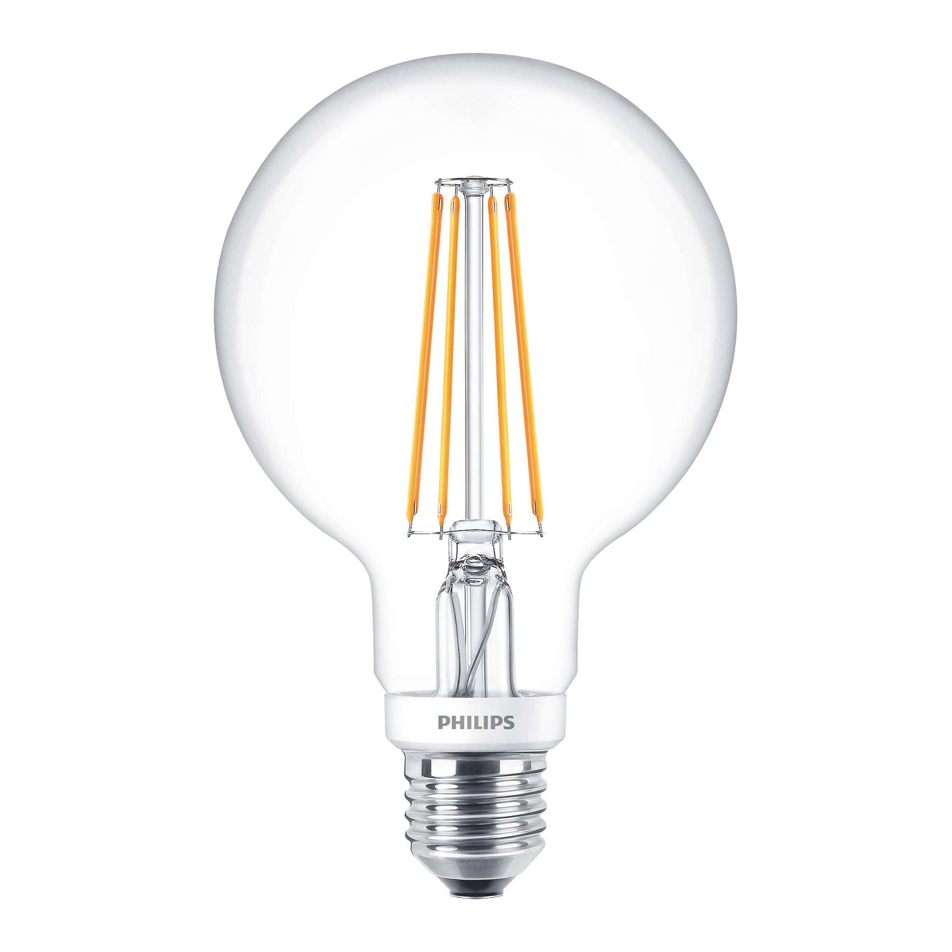 philips large led filament globe clear g93 e27 7w 2700k. Black Bedroom Furniture Sets. Home Design Ideas