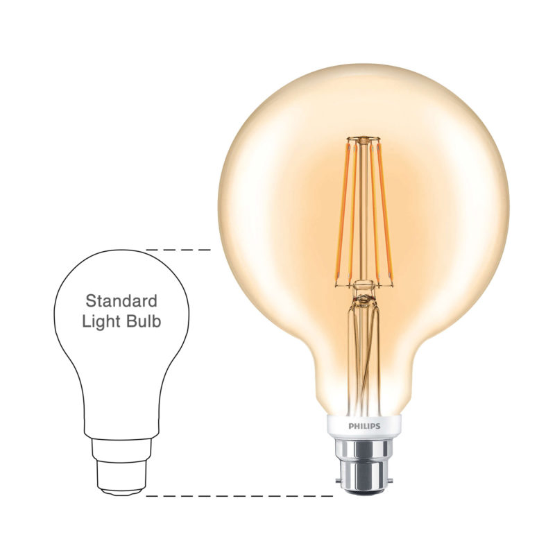 Philips LED Filament Gold Globe B22 7W 2000K-929001257902-Main-wd