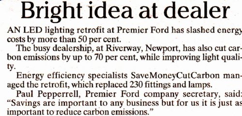 Premier Ford Isle of Wight energy savings story
