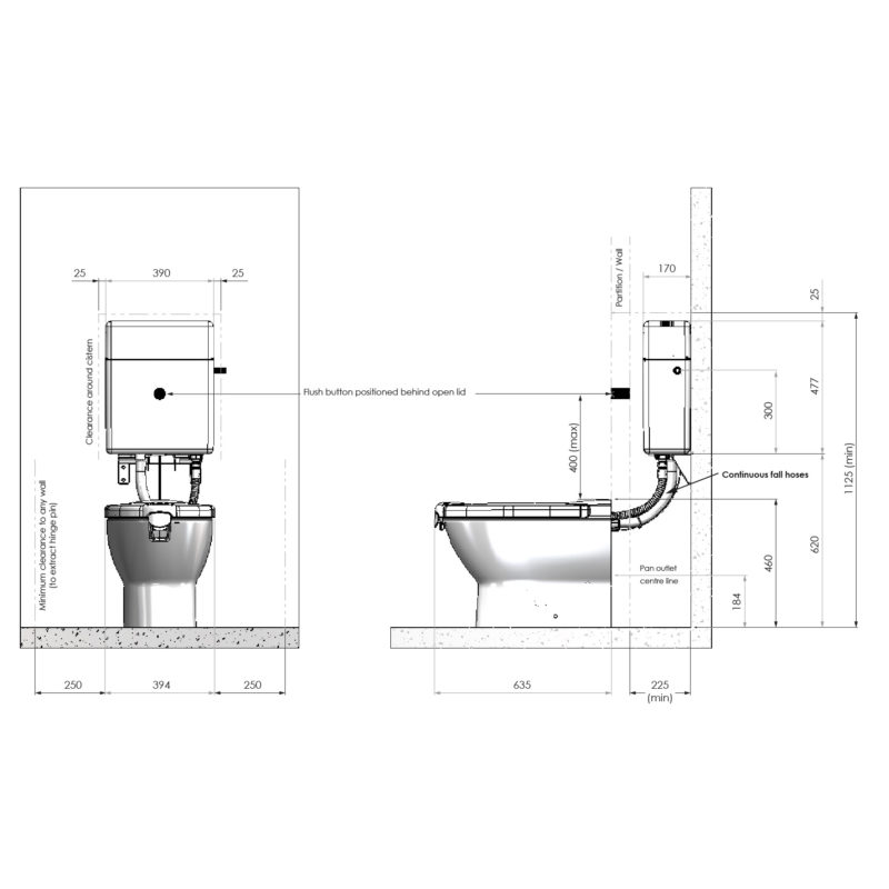 Propelair High-Performance Toilet Dimensions Diagram