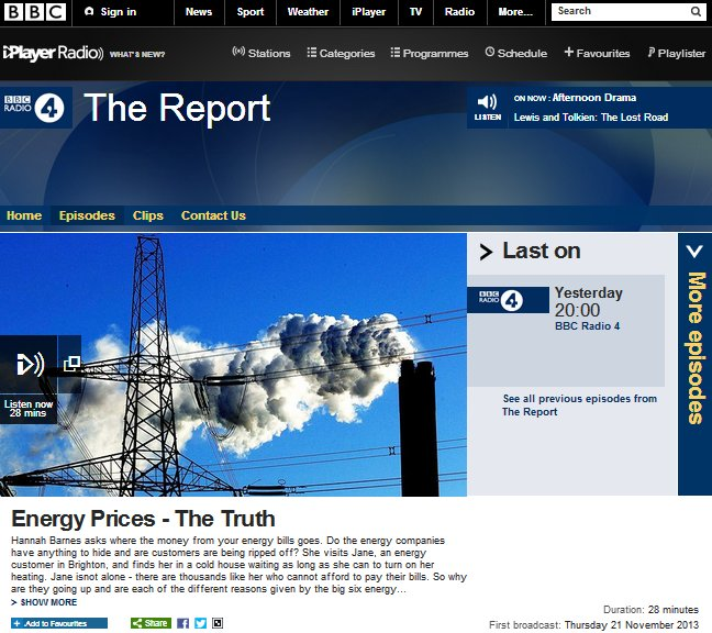 Image of Radio 4 Report programme website- listen to Hannah Barnes reporting on why we need to cut energy consumption to reduce our bills - SaveMoneyCutCarbon