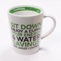 The SaveMoneyCutCarbon Mug Front