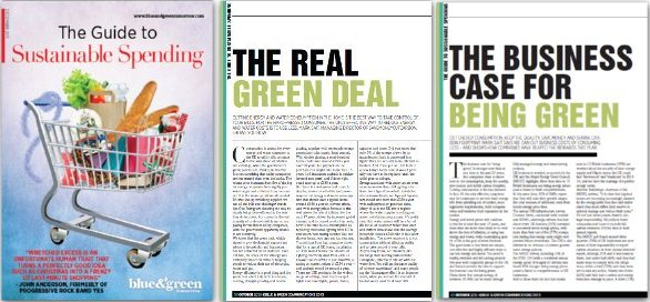 Image of Guide to Sustainable Business magazine cover with two articles by SaveMoneyCutCarbon