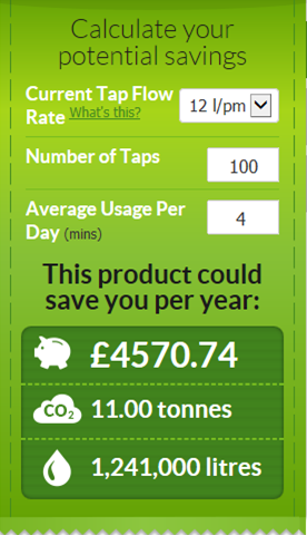 Green Tourism 2014 - Image of eco tap annual savings